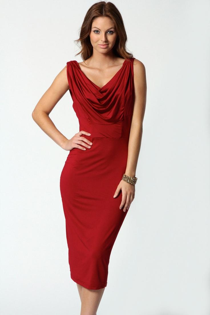 Mia Slinky Cowl Drape Back Midi Dress