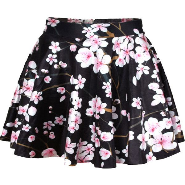 Black Peach Blossom Print Pleated Skater Skirt found on Polyvore