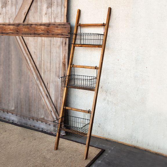 diy inspiration ladder shelving unit with baskets home. Black Bedroom Furniture Sets. Home Design Ideas