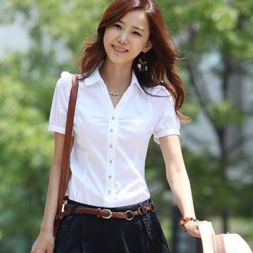 シャツ レディース ブラウス ワイシャツ ショート 半袖 :tb-23595028069:AKKISTORE - 通販 - Yahoo!ショッピング