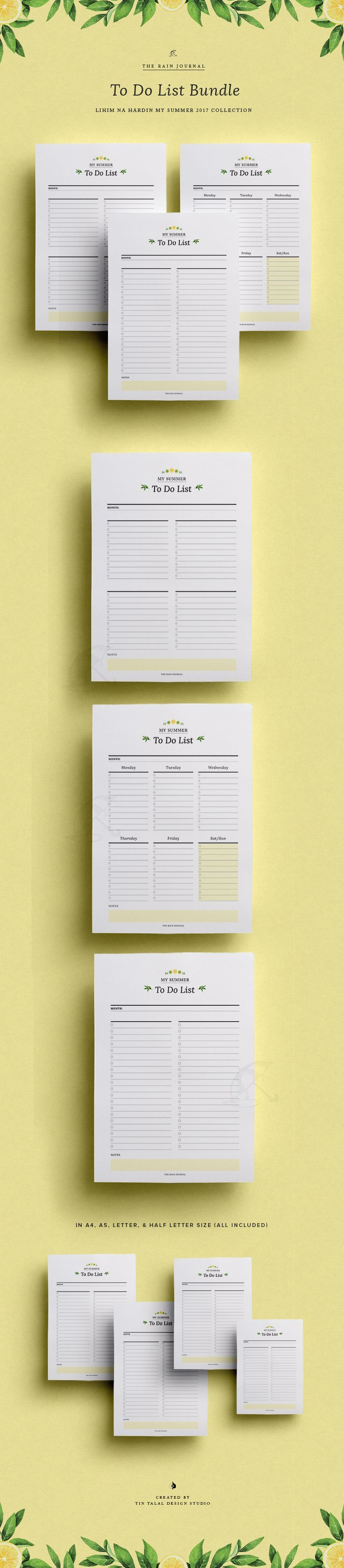 To Do List Printable Bundle - Weekly To Do List Printable Planner. Weekly Organizer. Weekly Planner Printable. Available in A4, A5, Letter & Half Letter. Fit for Kikki K Large and A5 Filofax | Wall Planner, Desk Planner & Planner Insert. The Rain Journal Printable Planners. Life Planner