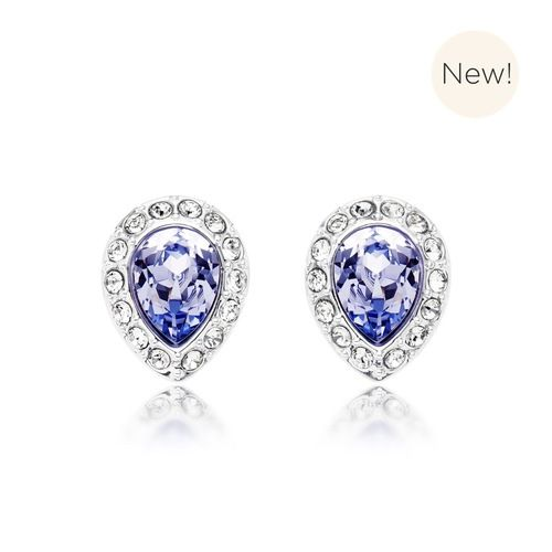 Christie Pear Stud Earrings with Lavender Swarovski® Crystals