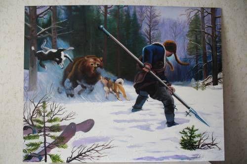 Картины (живопись) : охота на медведя с копьём