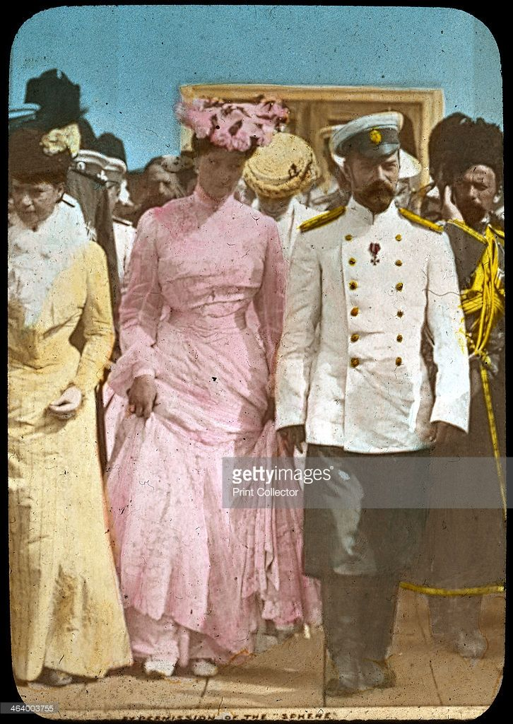 Tsar Nicholas II of Russia and Tsarina Alexandra, c1894-c1917. Nicholas II (1868-1918) became Tsar after his father Alexander III died on 1 November 1894. He married Princess Alix of Hesse (1872-1918) in November 1894. They and their children were murdered by the Bolsheviks in 1918 after being held prisoner after the Russian Revolution. Lantern slide.