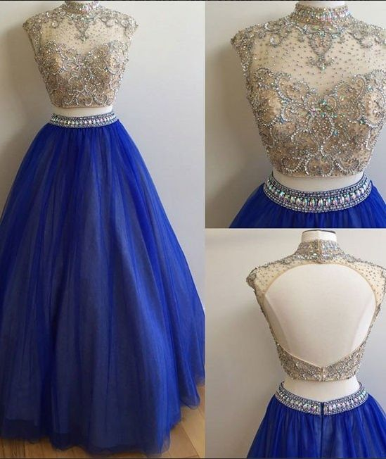 Blue round neck tulle sequin two pieces long prom dress, evening dress