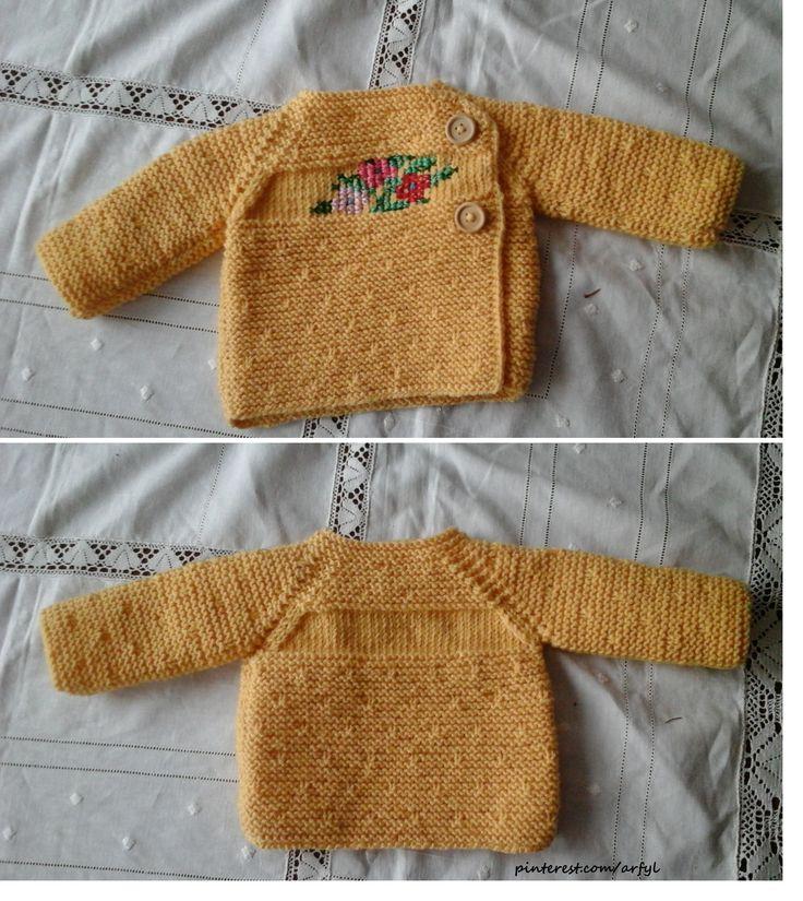 Babyjacke Pulli Pullover stricken Cross Stitch Вышивка крестом цветы  Вязание спицами