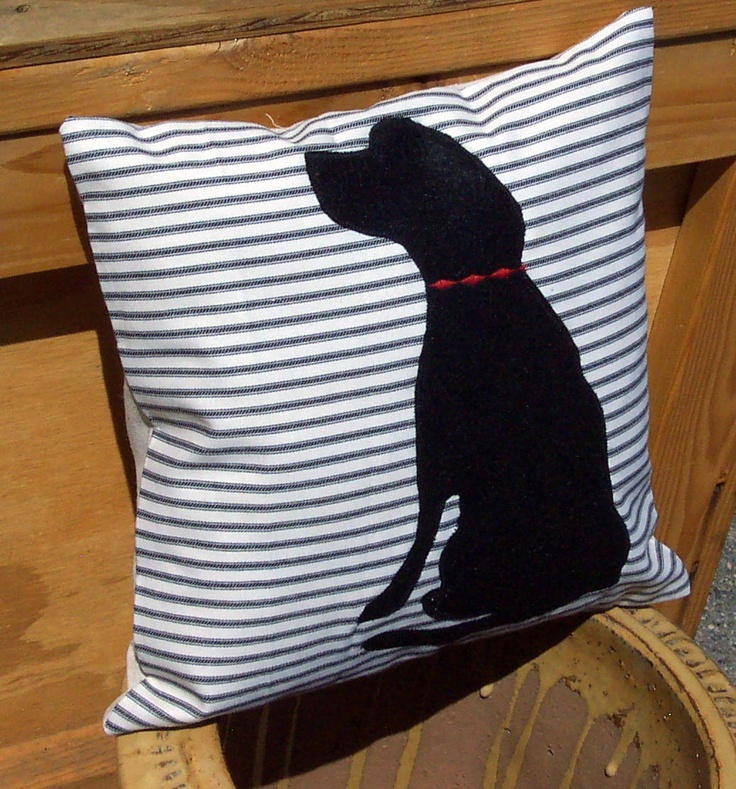 Decorative Throw Pillow Cushion Cover With Black Dog Felt