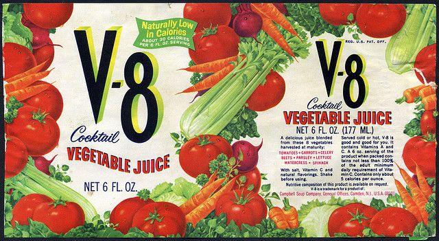 V-8 Vegetable Juice can label - 1970's | Flickr: Intercambio de fotos
