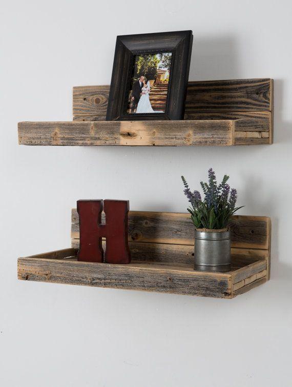 Reclaimed wood floating shelves by DelHutsonDesigns on Etsy