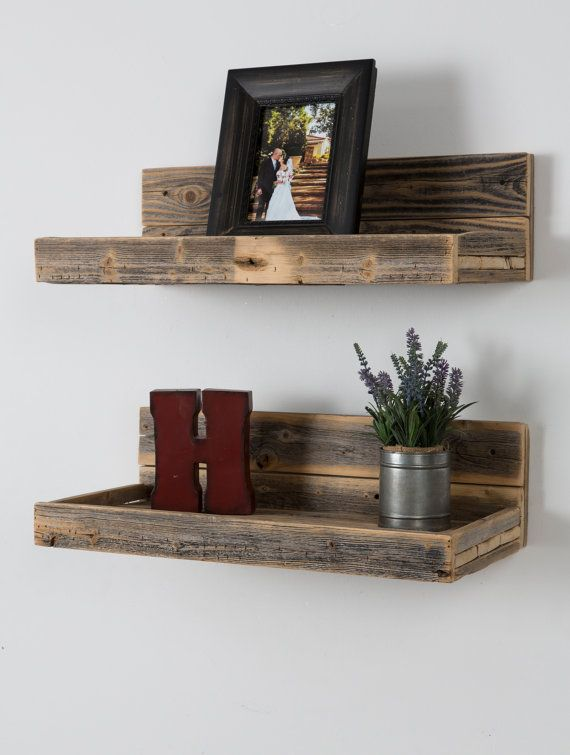 Reclaimed wood floating shelves by DelHutsonDesigns on Etsy