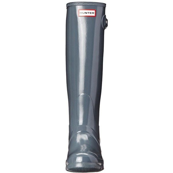 Hunter Original Gloss (Graphite Gloss) Women's Rain Boots ($150) ❤ liked on Polyvore featuring shoes, boots, knee-high boots, buckle boots, shiny boots, wellies boots, white rain boots and white knee boots