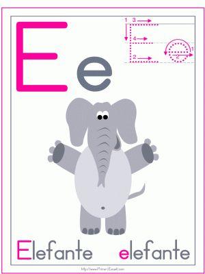 ficha letra e elefante