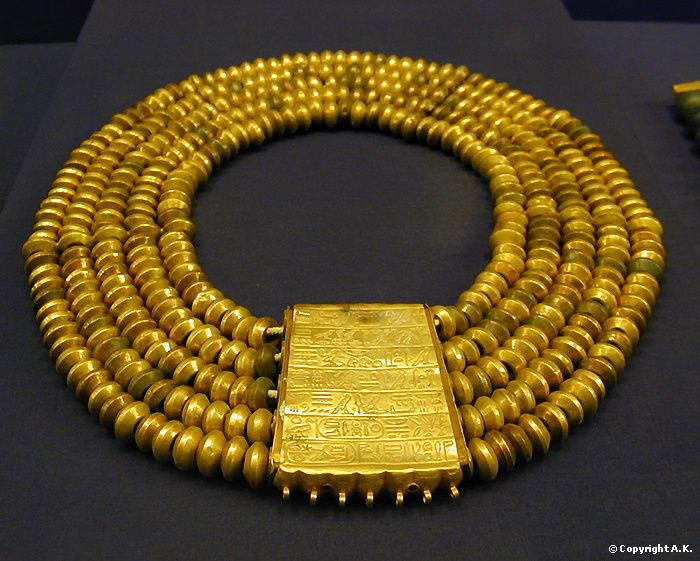 Gold necklace: from the treasure of the royal tombs Tanis, ca. 1070-712 B.C. Cairo Museum.