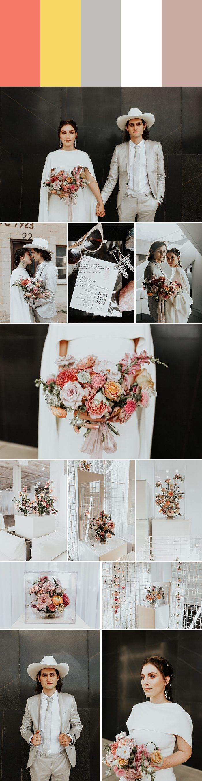 2018 Wedding Color Palette Inspiration: grapefruit + mustard + silver + bright white + antique mauve | Image by Chelsea Denise Photography