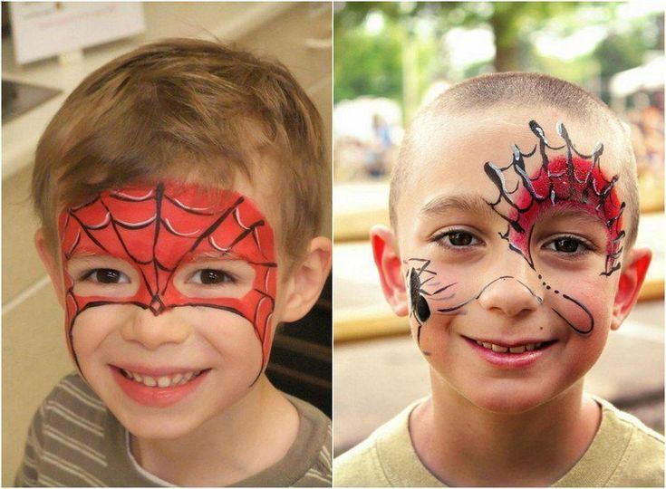 maquillage Halloween enfant garçon avec un visage sur le thème Spiderman