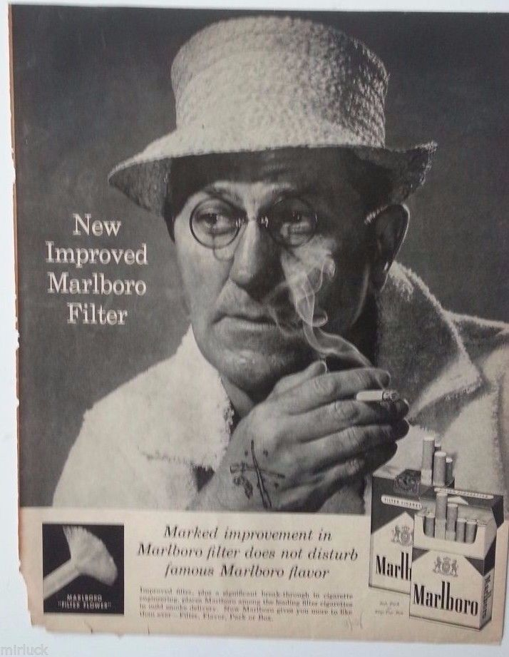 1958 Marlboro Cigarettes Old Man Rifle Tattoo Straw Hat Smoking Ad | eBay