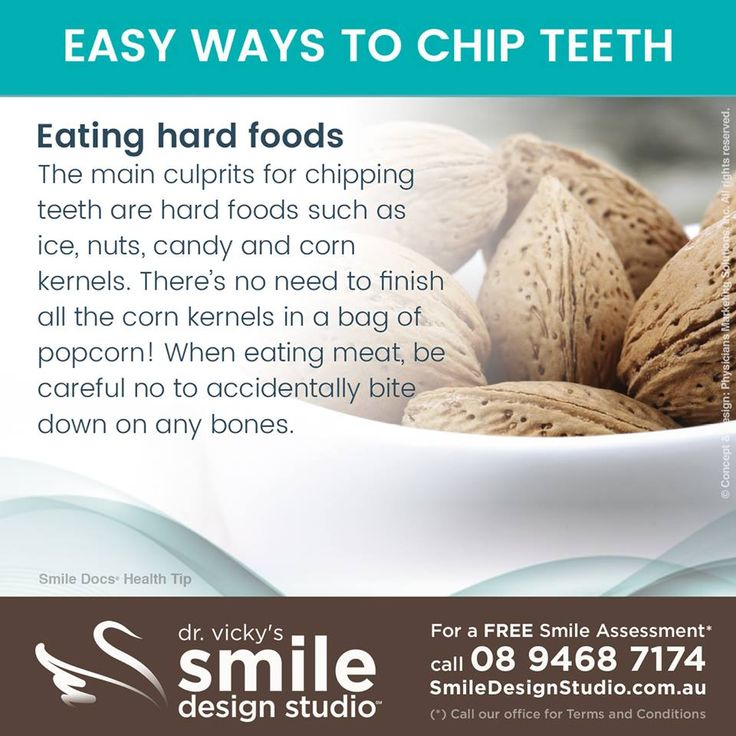 #HealthyTip — EASY WAYS TO CHIP TEETH / For a Free Smile Assessment*, contact us at 08 9468 7174 - www.SmileDesignStudio.com.au / (*) Please call our office for Terms & Conditions. #DrVickyHo #perth #australia #smiledesignstudio #dental #practice #cosmetic #dentistry #mosmanpark #stirlinghighway #tmj #services #implants #invisalign #zoom #whitening #dental #care #filler #preventive #dentist #teeth #smile #oral