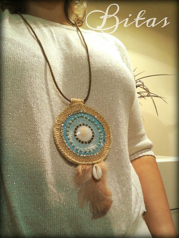 BOHO CHIC gipsy MANDALA crochet necklace boho by Bitas Bangles Facebook