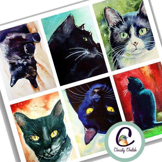 Black Cat Paintings ATC scrapbooking collage by ChristyObalek
