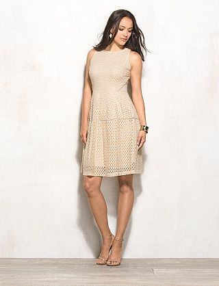 Lace Scuba Fit-and-Flare Dress