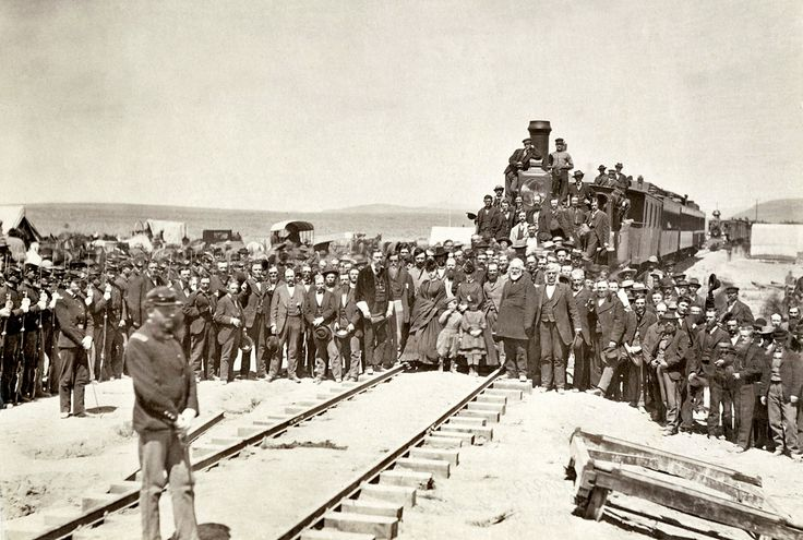 Officers of the Union Pacific Railroad at the laying of  the last rail at Promontory Summit, Utah, in 1869