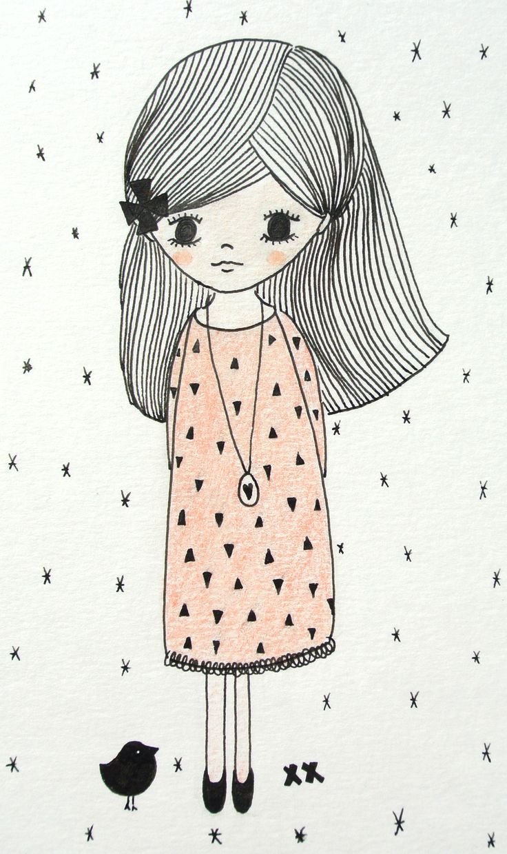 illustration girl | illustratie meisje | kids room www.kinderkamervintage.nl