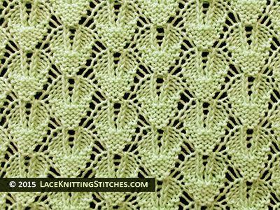Laceknitting. Shaped Diamond Lace Stitch Pattern. Beautiful lace.