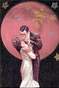 $44 Hot Kiss under Full moon Romance print Harrison Fisher , 5x7 print from an original altered art mixed media collage, copyright 2011