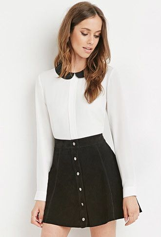 FOREVER 21 Peter Pan Collar Blouse WhiteBlack Large $19.90 AT vintagedancer.com