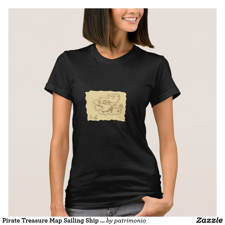 Pirate Treasure Map Sailing Ship Drawing. Ladies black t-shirt showing a sketch style illustration of a pirate treasure map and sailing ship set on isolated background. #treasuremap #map #tshirt