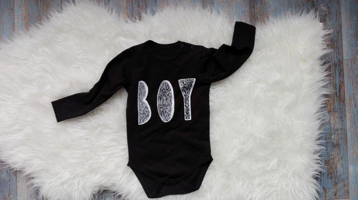 "Body ""BOY"" perfect gift for little man <3 #boy #babyboy #baby #black #cotton #longsleeve #minikid #newbie"