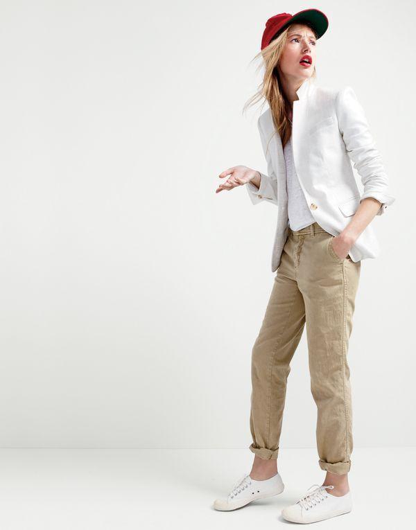 J.Crew women's Regent blazer in metallic linen, relaxed linen T-shirt, Sunday slim chino, Ebbets Field Flannels® for J.Crew Brooklyn Bushwicks ball cap and Tretorn® canvas T56 sneakers.