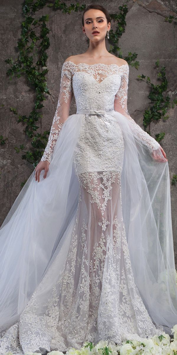 Wonderful Tulle Scoop Neckline See-through 2 In 1 Wedding Dress With Beaded  Lace Appliques   Detachable Skirt in 2018  f5247e6a50d2