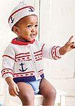 Вязаный спицами детский комплект в морсокм стиле: жакет и шапочка