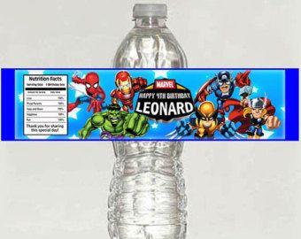Superheroes cumpleaños fiesta agua etiquetas de las botellas - imprimibles
