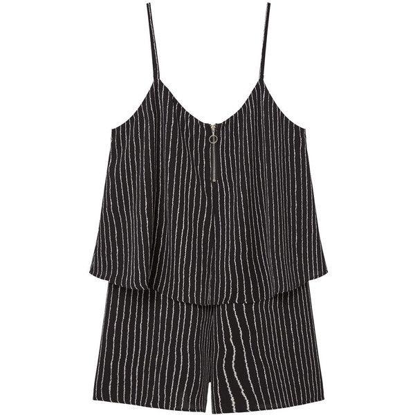 MANGO Printed Short Jumpsuit (£10) ❤ liked on Polyvore featuring jumpsuits, dresses, zipper jumpsuit, short jumpsuits, print jumpsuit, mango jumpsuit and patterned jumpsuit