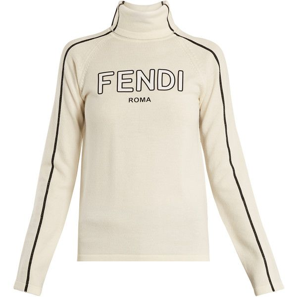 Fendi Logo-print roll-neck wool sweater (£455) ❤ liked on Polyvore featuring tops, sweaters, white, white sweater, fendi top, wool sweaters, woolen sweater and fendi sweater