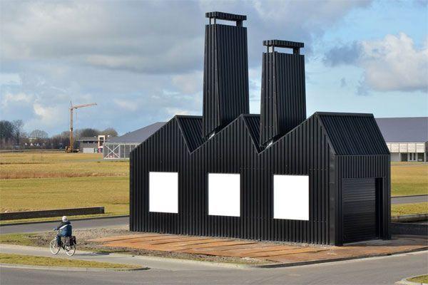Florentijn Hofman voit définitivement les choses en grand. Il a installé ce pictogramme d'usine en 3D dans une zone industrielle aux Pays Bas qui peut également se transformer en résidence d'artiste.