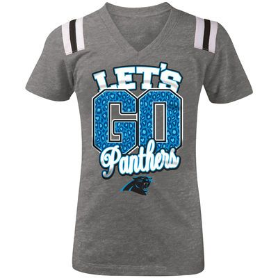 5th & Ocean by New Era Carolina Panthers Youth Girls Gray Go Team Tri-Blend V-Neck T-Shirt