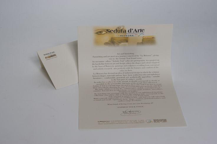 Letterhead designed for the corporate image of the brand new Seduta d'Arte. Art director: Mauro Giammarini Graphic design: Mauro Giammarini Agenzia: MGalterego