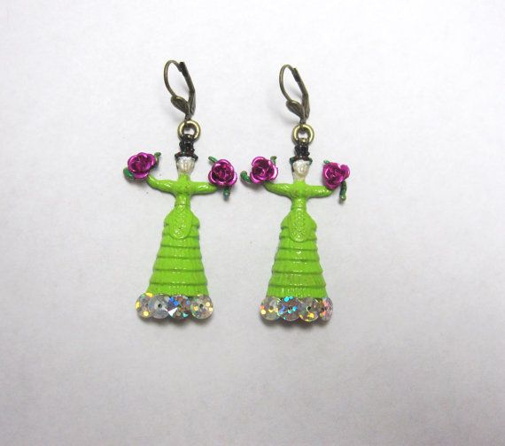 Frida Kahlo Earrings Lime Green Dress Day of by sweetie2sweetie