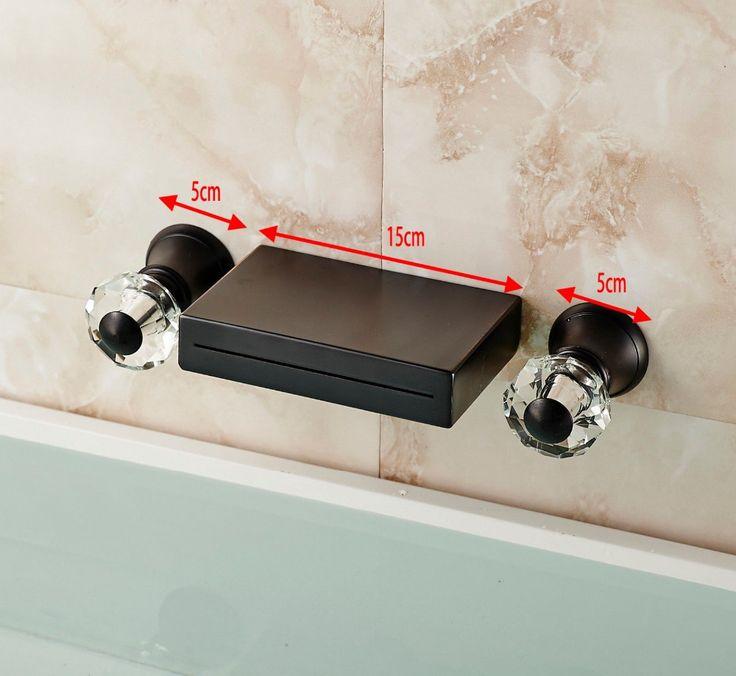2015 new waterfall spout wall mount bathroom tub faucet dual cristal handles basin vanity sink mixer taps