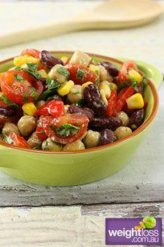Healthy Salad Recipes: Chickpea and Bean Salad. #HealthyRecipes #DietRecipes #WeightlossRecipes weightloss.com.au