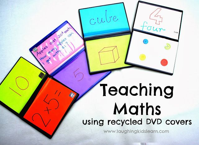 Teaching children a variety of math concepts using recycled DVD covers. Great fun!!  www.laughingkidslearn.com