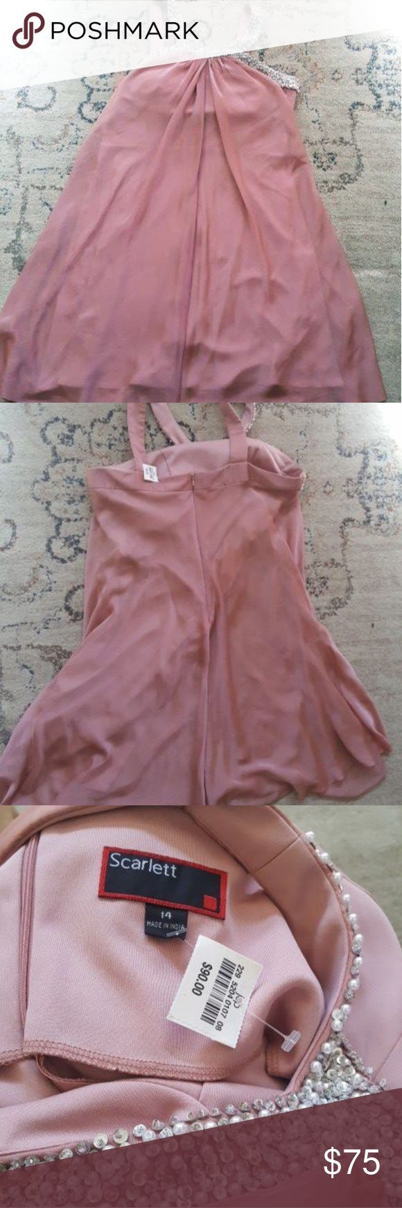 Scarlett Salmon color dress. Womens size 14 brand new never worn with tag. Salmon color with bedazzled collar. Scarlett Dresses Mini