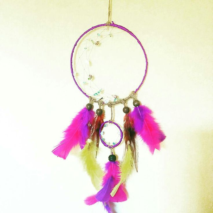 Gypsy purple dreamcatcher, with colorful feathers and rope design🌸