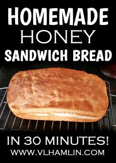 Make this delicious homemade honey sandwich bread in 30 minutes or less using just 6 ingredients! Homemade Honey Sandwich Bread in 30 Minutes Yes, you read that right! Homemade honey sandwich bread in a half an hour! I found this sandwich bread recipe in an old cookbook, my Grandmother gave me, from the 1940's. I ... Read moreHomemade Honey Sandwich Bread in 30 Minutes