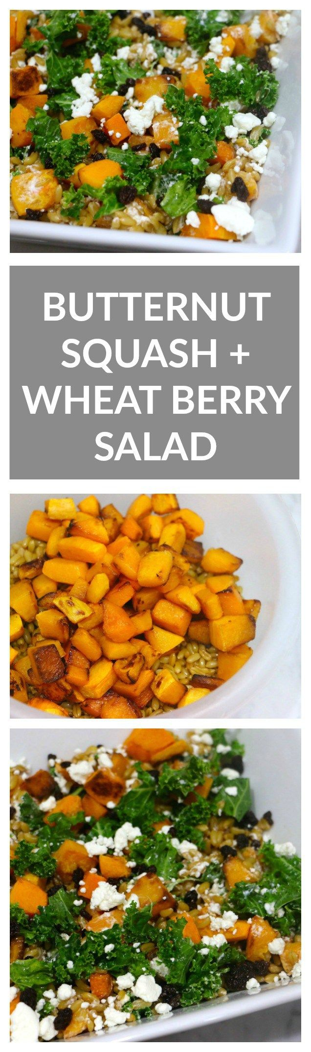 Butternut Squash, Goat Cheese + Wheat Berry Salad. The perfect fall salad combining sweet butternut squash and currants, hearty wheat berries, and creamy goat cheese. Tossed with massaged kale for a mega dose of nutrients!