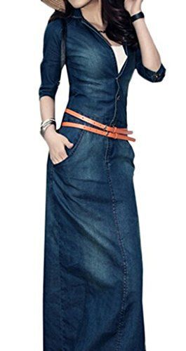 New Trending Formal Dresses: KaKing Women Slim Trench Waist Wash Cow Boy Jeans Denim Skirt Dress Summer Spring Blue Large. KaKing Women Slim Trench Waist Wash Cow Boy Jeans Denim Skirt Dress Summer Spring Blue Large   Special Offer: $39.99      233 Reviews Our size is Asia size, not US size,pls check the size before you order. regular fit fit type:slim Material: jean neckline:v neck Style: Jumper Dress...