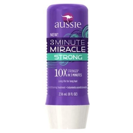 Aussie Three Minute Miracle Strengthening Treatment, which strengthens hair and reduces breakage (all in under three minutes).